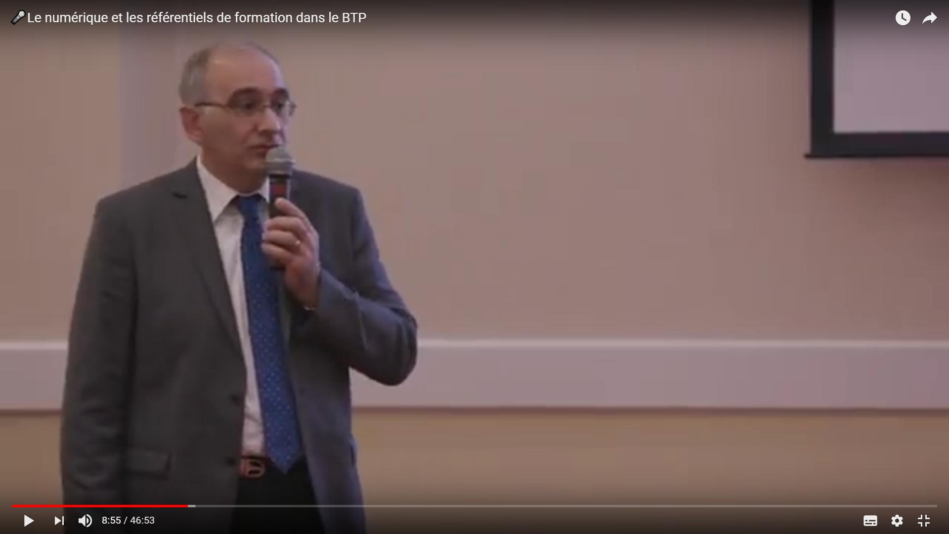Vidéo sur le numérique et les référentiels de formation dans le BTP