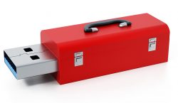 Red toolbox with usb 3.0 plug isolated on white background. 3D illustration