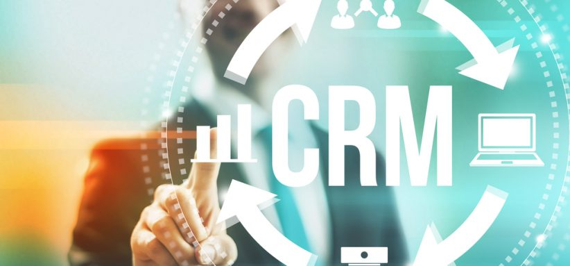 Customer relationship management concept man selecting CRM